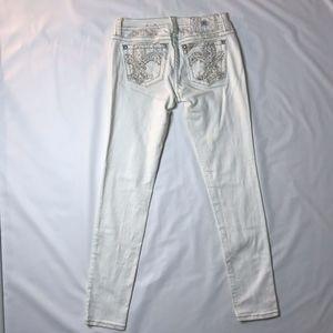 Miss Me Ankle Skinny Jeans White Fleur
